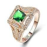 YAZILIND Brillante Verde Zirconia cúbico Anillo incrustado rhiestone Oro Plateado Compromiso Boda Joyas Regalo para Mujeres tamaño 16, 5