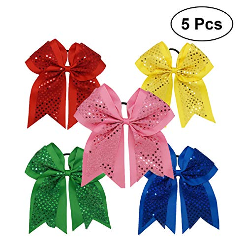 Frcolor Grosgrain Ribbon Haar Bögen Pferdeschwanz Inhaber Haargummi für Kleinkind-Mädchen - 5 Stück