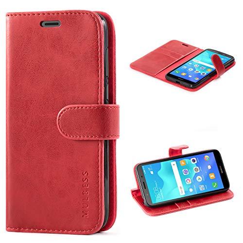 Mulbess Handyhülle für Huawei Y5 2018 Hülle, Leder Flip Case Schutzhülle für Huawei Y5 2018 / Honor 7S Tasche, Wein Rot