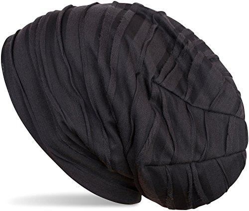styleBREAKER Beanie Mütze mit Falten Muster, Slouch Longbeanie, Unisex 04024053, Farbe:Midnight-Blue-Schwarz (One Size)
