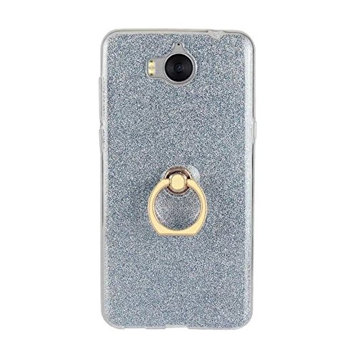 Soft Flexible TPU Back Cover Case Shockproof Schutzhülle mit Bling Glitter Sparkles und Kickstand für Huawei Y5 2017 ( Color : White ) Blue