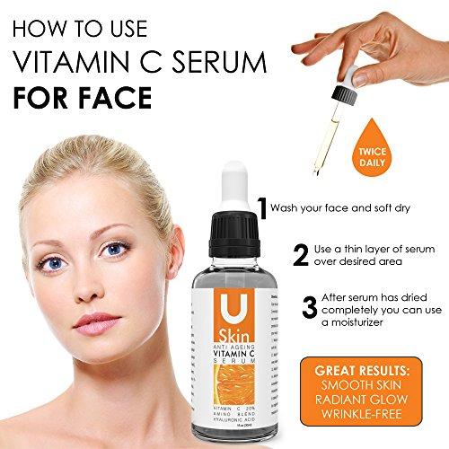 uSkin Care Anti Ageing Vitamin C Serum for Face, 1 fl.oz (30 ml)