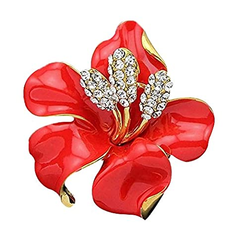 Contever® Cristal Broche & Pin Bridal Floral Femmes Mode Breastpin Goupille (Rouge)