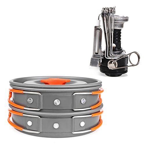AOZBZ Camping Pots Pans and Stove Set, Backpacking Camping Cookware Set Backpacking Gear Hiking Cooking Picnic with Bowls, Rice Spoon, Soup Spoon, Cleaning Sponge