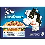 Purina Felix le Ghiottonerie Umido Gatto con Manzo e Carote e con Pollo e Pomodoro, 40 Buste da 100 g Ciascuna, 10 Confezioni da 4 x 100 g