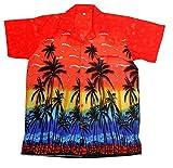 Camisa hawaiana para hombre, diseño de palmeras, para la playa, fiestas, verano y vacaciones - L - rosso