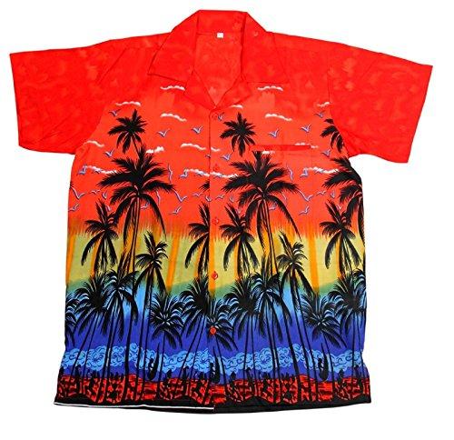 Saitark - camicia hawaiana da uomo, motivo estivo con di palme - medium - rosso