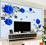 HALLOBO Wandtattoo Blau Rosen Ranke XL Blumen Wandaufkleber Wandsticker Wohnzimmer Schlafzimmer Deco Wall Sticker Versand aus Deutschland