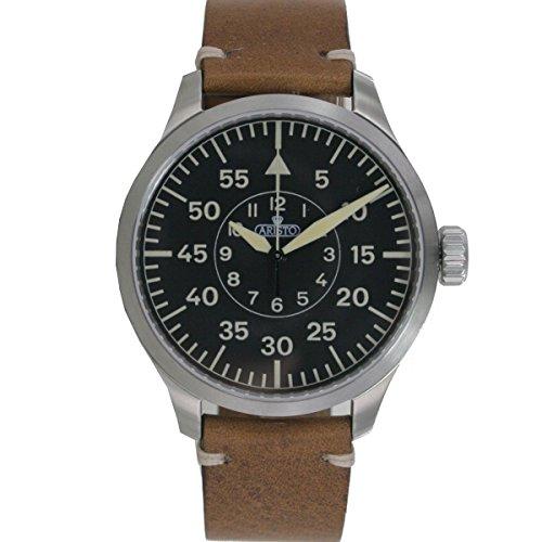 Aristo Reloj de hombre reloj de pulsera Automatic 7h98Vintage 47plilot piel