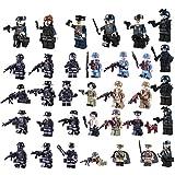 MAJOZ 34St.Mini Figuren Set SWAT Team Armee Figurinen Lauerende Person Minifiguren - Building Blocks Kinder pädagogisches Spielzeug-Geschenk