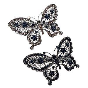 Baoblaze 2er Set Frauen Kristall Schmetterling Französisch Haarspange Haarklammer Pferdeschwanzhalter