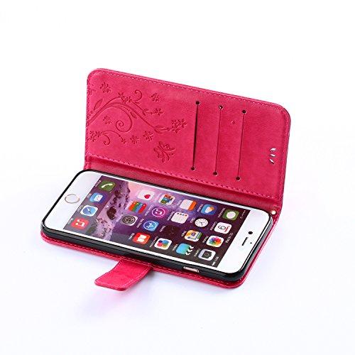 iPhone 6 Plus Hülle Leder, E-Lush Premium PU Leder Tasche für Apple iPhone 6 Plus(5,5 zoll) Embossing Prägung Blumen Schmetterling Muster Klapphülle 360 Full Body Protection Flip Case Wallet Cover Wei Rosa