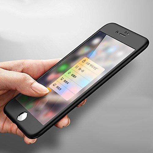 iPhone 6S Coque,iPhone 6 Etui en Plastique,Luxe Mode Scrub Plastic Case 360 degrés Avant et Arrière étui de protection,Sensation de Matte Design Ultra Mince Dur Plastique Coque,iPhone 6/6S 4.7 Cristal noir*