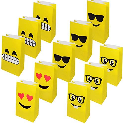Moji Bags Emoji Sacchetti Regalo per Bambini in Carta per Festeggiare 36 Pacchett