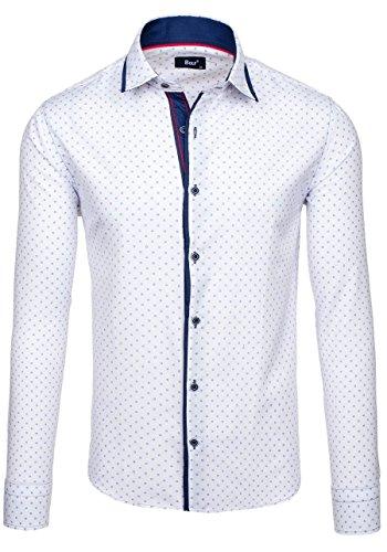 BOLF �?Camicia casual �?Maniche lunghe �?BOLF 6901 �?Uomo Bianco