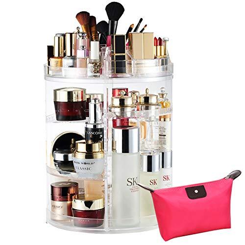 Livehitop organizzatore di trucco 360° rotante, regolabili acrilico porta cosmetici make up con borsa per como bagno, regalo perfetto per ragazze