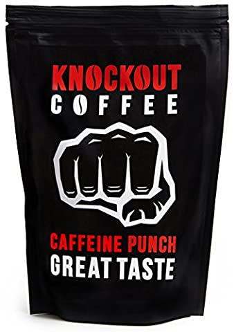 The STRONGEST Coffee on Earth, KNOCKOUT COFFEE, Whole Bean, Caffeine Punch - Great Taste | High Quality - High Caffeine Coffee | WHOLE BEAN 454g / 1Lb Bag