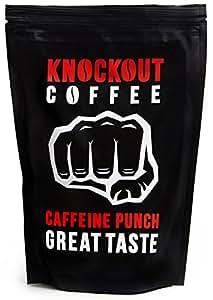 Il Caffè PIÙ FORTE Al Mondo, KNOCKOUT COFFEE, Macinato, Botta di caffeina - Ottimo sapore | Caffè di grande qualità - Contenuto elevato di caffeina | Sacchetto da 454 g
