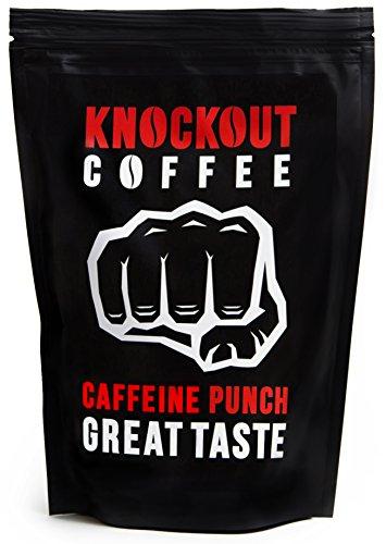 Il Caffè PIÙ FORTE Al Mondo, KNOCKOUT COFFEE, In chicchi, Botta di caffeina - Ottimo sapore   Caffè di grande qualità - Contenuto elevato di caffeina   Sacchetto da 454 g