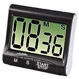 Xavax Digitaler Küchentimer mit Timer- und Stopp-Uhr-Funktion (Befestigung via Magnet, Clip, Hänger oder Aufsteller) batteriebetrieben, schwarz -