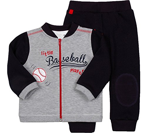 Be Mammy Jungen Set Sweatshirt und Hose Baseball 2311 (Melange/Navy, 80)