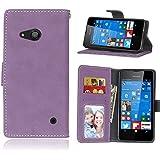 Nokia Lumia N550 Coque Lanyard Dragonne Portefeuille étui en cuir PU,Nokia Lumia N550 Flip magnétique Cas avec support Béquille de carte,Cozy Hut Créatif Simple Book Style [Anti-scratch] Retro Matte Motif Prime Ultra Slim Fit Wallet Protecteur Étui Coque Flip PU Cuir Portefeuille Etui Housse Coque Coquille avec Stand et les fentes de carte de crédit pour Nokia Lumia N550 - gommages Violet