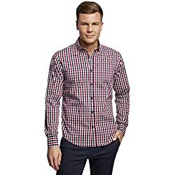 oodji Ultra Hombre Camisa Entallada a Cuadros, Rojo, сm 38 / ES 38 / XS