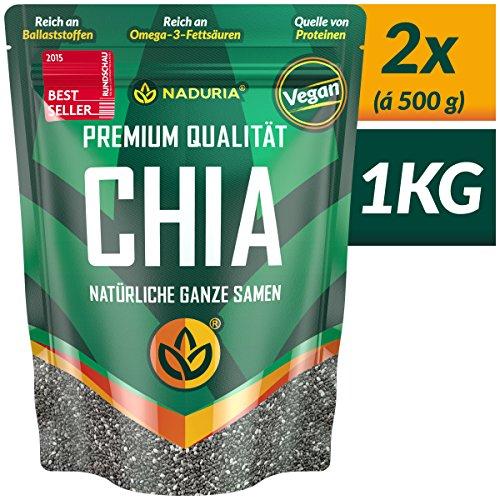 NADURIA Premium Chia Samen (Schwarz) – 1kg (2 x 500g) – Reich an Ballaststoffen & OMEGA 3 Fettsäuren – inkl. wiederverschließbarer Verpackung!