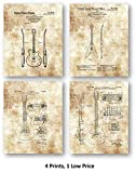 Original Gibson Guitars Studio Decor Drawings- Music Artwork - Set of 4 8 x 10 Unframed Patent Prints - Great Gift for Musicians and Electric Guitar Players