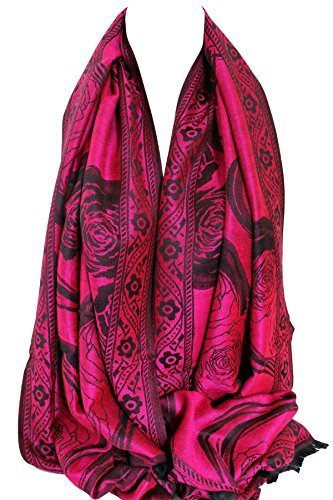 wei -seitig Herz Aufdruck Pashmina Feel Wickelschal Stola Schal Hijab (Hot Pink) (Hot Pink Schal)