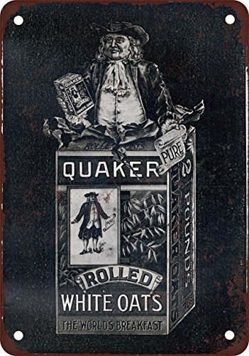 Metal Poster with Vintage Look of Quaker Oats by 1896, 30,5 x 45,7 cm