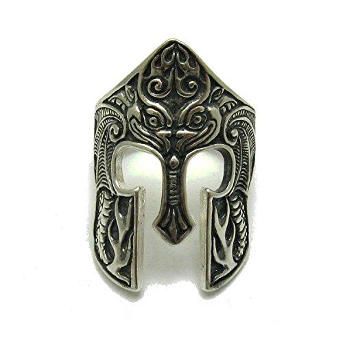 Anillo de plata de ley sólido 925 Casco espartano R001733
