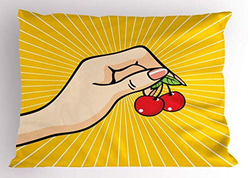 HFYZT Fruit Pillow Sham, Retro Pop Art Hand Holding a Couple of Cherries Sketch Design on Yellow Background, Decorative Standard Queen Size Printed Kissenbezug Pillowcase, 18 X 18 Inches, Multicolor -