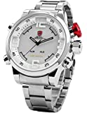 SHARK Mens LED Date Day White Dial Sport Military Stainless Steel Quartz Wrist Watch SH104
