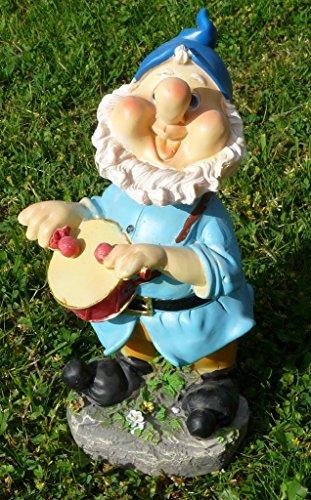 Lustiger Gartenzwerg mit Wackelkopf blaue Mütze 22 cm bunte Zwerg Figuren für Haus und Garten Gnom Mütze Blau