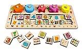 Vetrineinrete® Gioco educativo per bambini in legno numeri forme geometriche e colori giochi didattici e creativi per lo sviluppo del bambino giocattoli 36+ M78