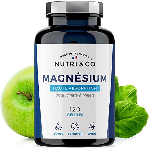 Magnesium Végétal plus Vit B6 B5 B8 • Malate et Bisglycinate de Magnésium • 120 Gélules de 506mg 100% Bio-disponibles et Non Laxatives • Fabriqué en France par Nutri&Co