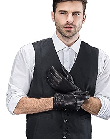 YISEVEN Herren Winter Schwarz Handschuhe aus Echtem Lammfell Leder Gefüttert Lederhandschuhe