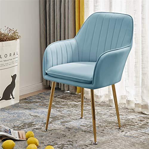 Sedia per sala da pranzo innovativa blu con imbottitura in morbida pelle pu - sedia per reception da ufficio