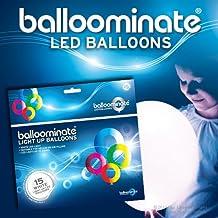 BALLOOMINATE - Globos luminosos blancos (con luz LED blanca), en paquete de 15 piezas. Excelentes para bodas, reuniones, fiestas y todo tipo de celebraciones.