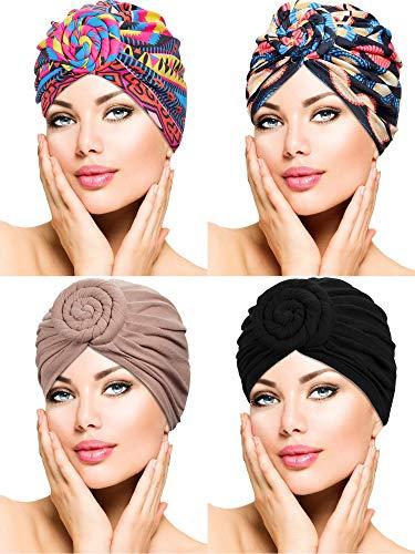WILLBOND 4 Stücke Turban Blumen Kopf Verpackung Beanie Schal Kappe Haarausfall Hut für Männer und Damen (Stil 5)