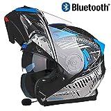 JohnnyLuLu Integrierter Bluetooth-Motorrad Klapphelm, Persönlichkeit Kreative Motorrad Roller Chopper Racing Sport Modularer Helm mit Doppelvisier für Vier Jahreszeiten,C,L -