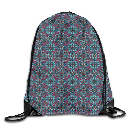 ckpack Gym Bags Storage Backpack, Abstract Ornamental Swirls and Curves Pattern with Foliage Leaves and Flowers Desgin,Deluxe Bundle Backpack Outdoor Sports Portable Daypack ()