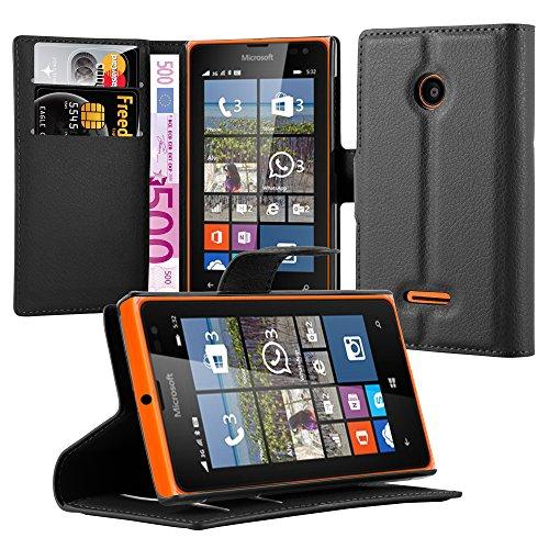 Cadorabo DE-102971 Nokia Lumia 532 Handyhülle mit Kartenfach und Standfunktion Case Cover Schutzhülle Etui Tasche Book Klapp Style Phantom-Schwarz