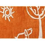 Aratextil. Alfombra Infantil 100% Algodón lavable en lavadora Colección Verano Naranja 120x160 cms
