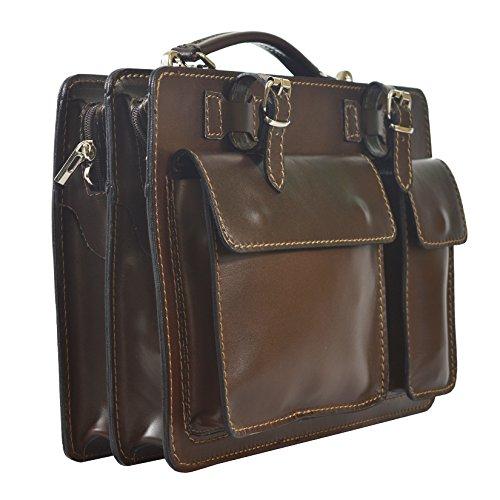 CTM Unisex Business Tasche, Aktentasche, Organizer in italienischem Leder Made in Italy D7006 - 35x25x12 Cm Dunkelbraun