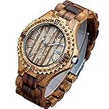 XLORDX Holzuhr ZebraHolz Braun Datum Armbanduhr Herrenuhr aus Holz Freund Ehemann Geschenk Gift Watch