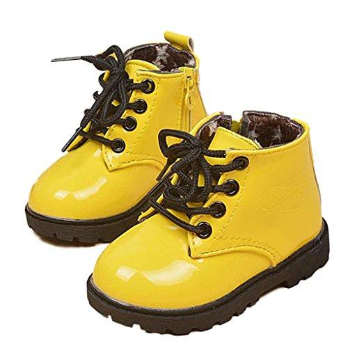 Longra Winter Kinder Jungen Mädchen warme Babyschuhe Armee Stil Martin Stiefel Yellow