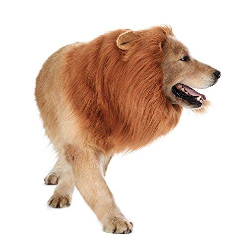 Löwenmähne für Hunde & #-; yrh Löwe Mähne Hunde Costumes–Funny Hund Löwe Perücke für mittelgroße bis große Hunde Katzen, Fancy Lion Haar für Halloween Urlaub Foto-Shootings Party Festival (Holloween Perücken)