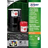 Avery b4775 – 50 Ultra Heavy Duty Etiquetas Impermeables GHS, bs5609 Certified, para todas las impresoras A4, 210 x 297 mm, color blanco